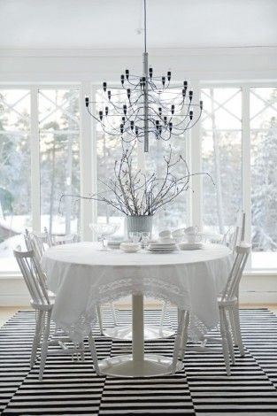 ikea rug, antique tablecloth, swedish chairs, contemporary chandelier