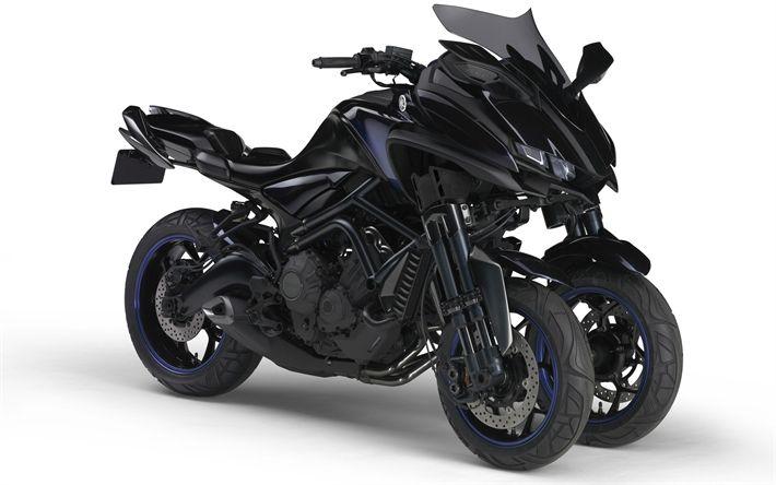 Download wallpapers Yamaha MWT-9, 2018, 4k, three-wheeled motorcycle, new motorcycles, Japanese motorcycles, Yamaha