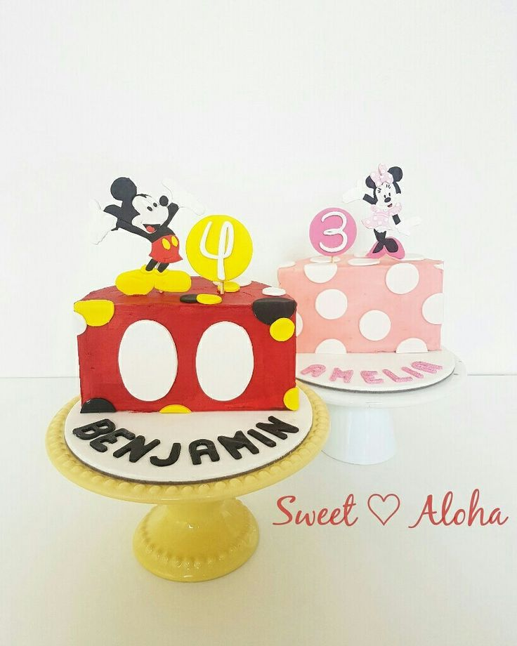 Double birthday 1/2 cake mickey and Minnie mouse