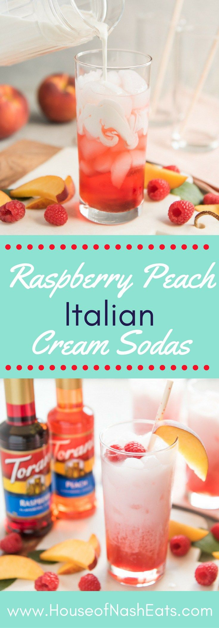 These easy and refreshing Raspberry Peach Italian Cream Sodas made with Torani syrups are the perfect non-alcoholic drink to serve all summer long! @ToraniFlavor @walmart #MyToraniSummer #ad