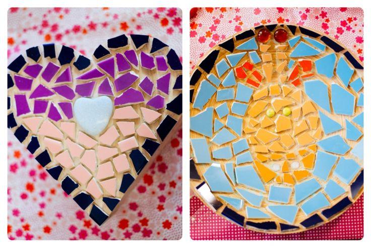 Houten doosjes mozaïeken- http://www.galerie-lucie.nl/- mosaic