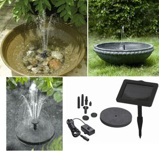 SunJet 150 Mini Solar Pump Kit Create your own water feature fountain for hummingbirds. Three different fountain heads. Spray height up to 35 cm/14 inches.$79.99
