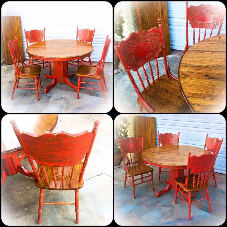 Oak Kitchen Table Chairs: ️ Red, Country Kitchen Table, From Reincarnated With Love