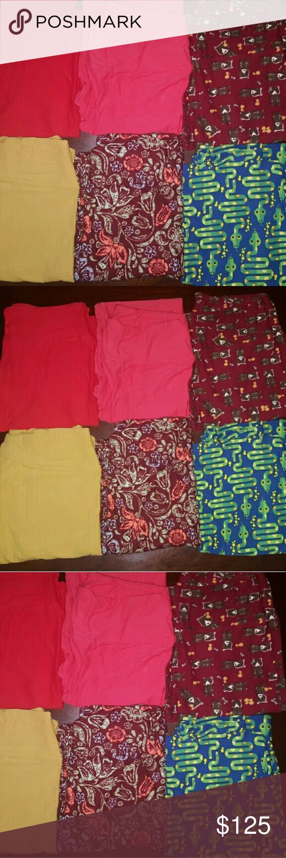 Lularoe Leggins Bundle of 6 One Size OS Lularoe One Size Bundle. 3 patters and 3 solids. 3 patters are floral, snakes, and bears. 3 solids are mustard yellow, watermelon pink, and red. Some of them are also listed individually. 6 leggings for the price of 5. Serious buyers only! Price is firm. All brand new and never worn/tried on. LuLaRoe Pants Leggings