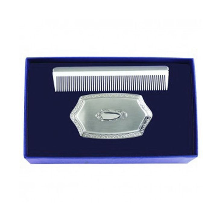 Boy's Embossed Brush and Comb Gift Set in Pewter