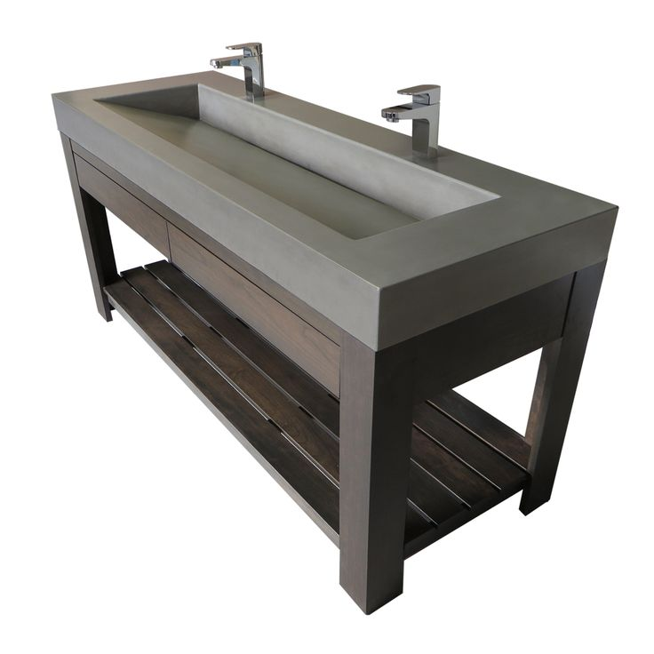 "Trueform 60""Lavare Vallum Concrete Bathroom Vanity Sink with Drawer. Wharton, New Jersey. Vanity top integral sink with base, bathroom, powder room, hotel, bar, restaurant"