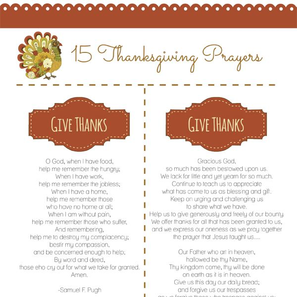 When you gather for Thanksgiving this year, consider saying some of these Thanksgiving prayers.  Of course, any thanks that comes from the heart is always well-said. #thanksgiving #prayers #family