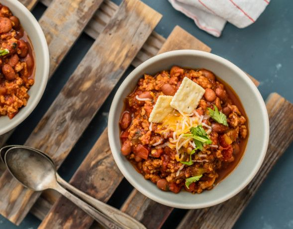 I totally hated ground turkey until I tried this recipe. People dont even know ground turkey is in it; until you tell them;so dont.This chili is mild so any one can eat it.