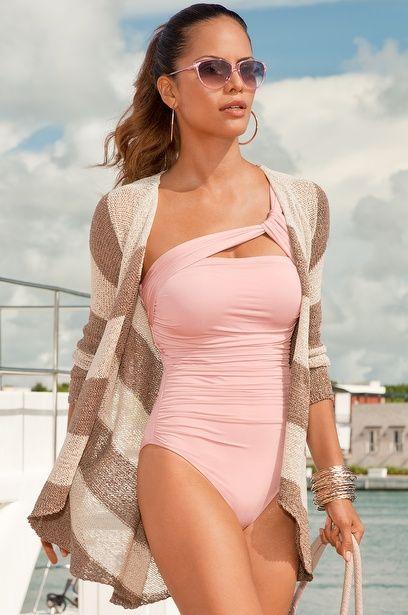Shirred asymmetrical one-piece bathing suit/Sparkling stripe draped cardigan