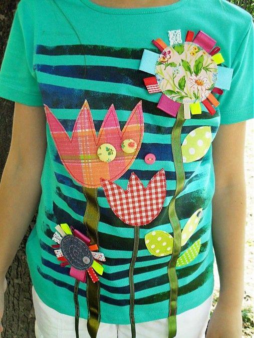 detské tričko s maľovanými detailami a textilnými aplikáciami