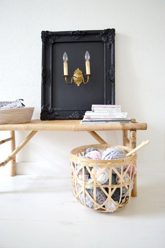 FRIVOLE ★ livingroom  #handmade #black #chalkboard #lamp #ligt #copper #bamboo #bench #TineK #basket #interior #styling
