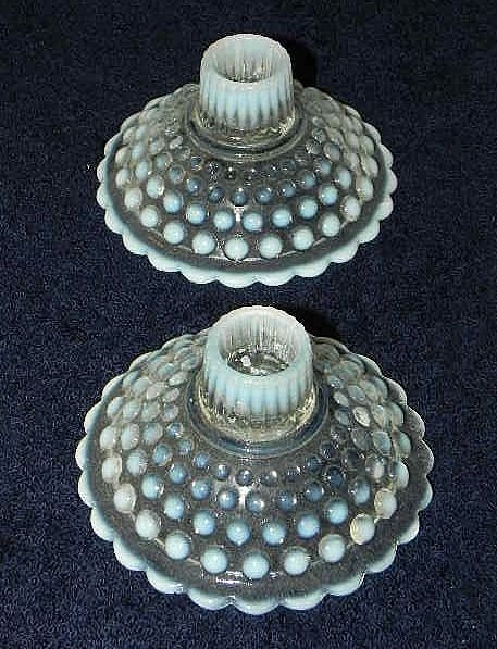 1940s Opalescent Moonstone Hobnail Candlesticks