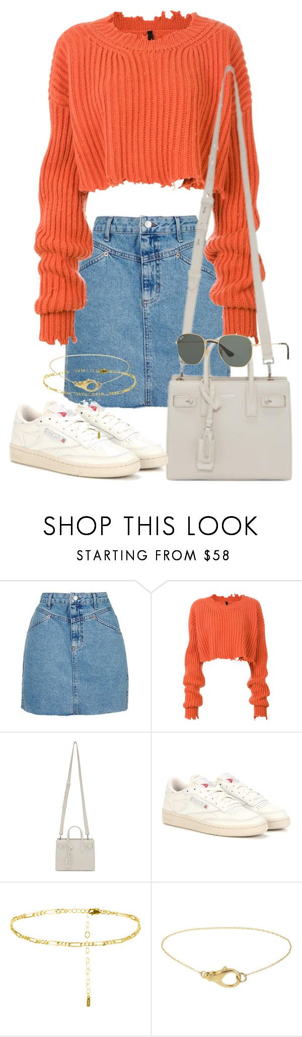 """""""Sin título #3724"""" by camilae97 ❤ liked on Polyvore featuring Topshop, Unravel, Yves Saint Laurent, Reebok and Ray-Ban"""