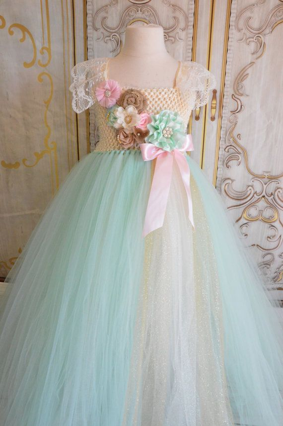 Vintage Mint Flower girl tutu dress by TutuSweetBoutiqueINC, $60.00
