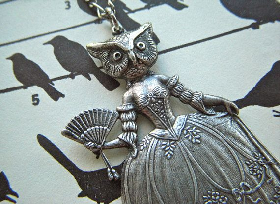 Antiqued Silver Steampunk Necklace Owl Woman Gothic Victorian Sideshow Carnival Freak Dark Circus Rustic Silver Plated Antique Primitive Finish Steampunk Art Jewelry Handcrafted Original Design Made In Las Vegas From www.CosmicFirefly.com Original Handcrafted Assemblage Jewelry Design