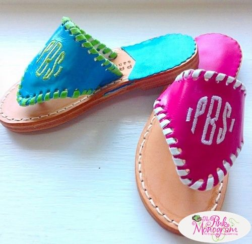 Monogrammed Palm Beach sandals for kids! so cute in so many color combination