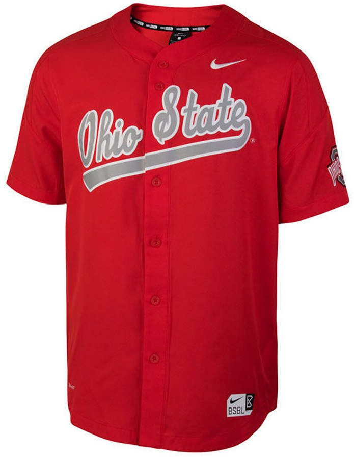 7496e2a47 Nike Men s Ohio State Buckeyes Full-Button Vapor Elite Baseball Jersey