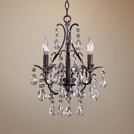 Castlewood Walnut Silver Finish 3-Light Mini Chandelier - #83484 | LampsPlus.com