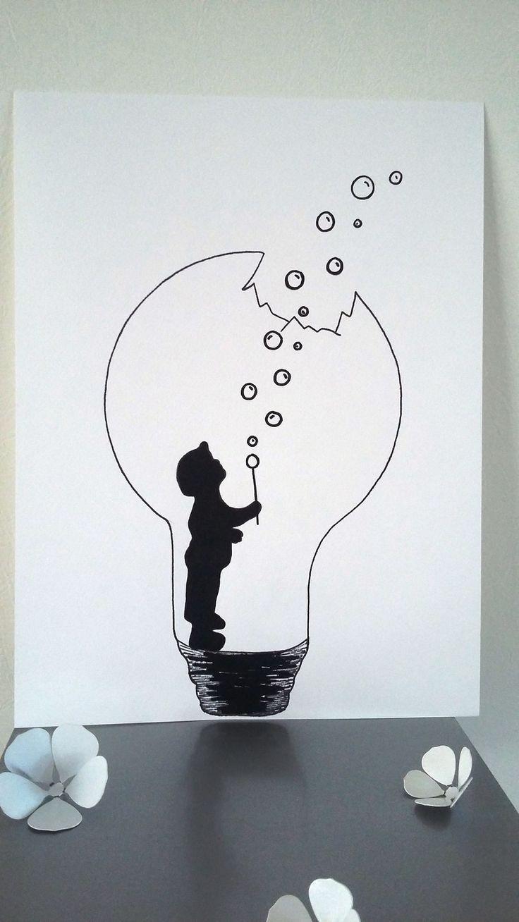 """Affiche Illustration Noir et blanc ampoule """" la pressure de l'enfance """" : Affic…"""