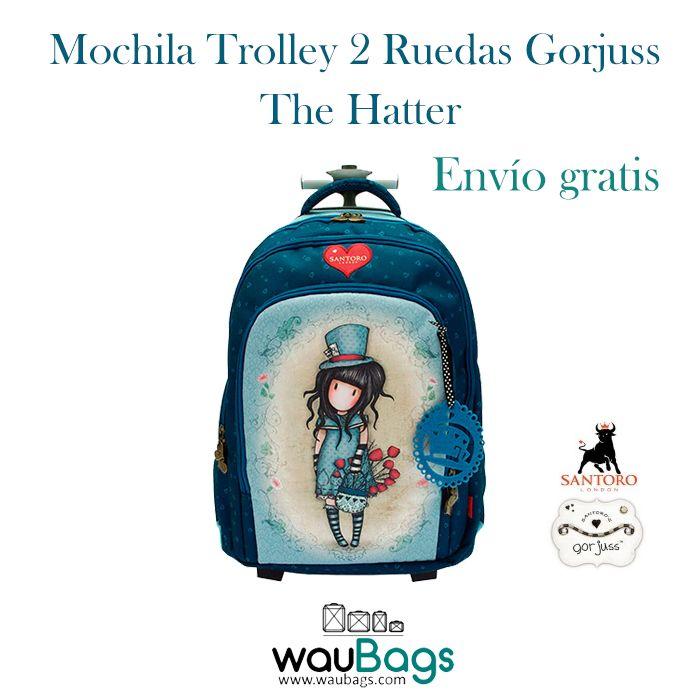 """Consigue la Mochila Trolley 2 Ruedas Gorjuss """"The Hatter"""", por tan solo 107€ con gastos de envío gratis!!¡Puede llevarse en la espalda como una mochila gracias a sus dos asas acolchadas, dispone de un compartimento trasero para guardar los tirantes y también la puedes usar como un carro gracias a su trolley extensible que permite llevarla cómodamente!@waubags #gorjuss #santorolondon #mochila #trolley #escolar"""