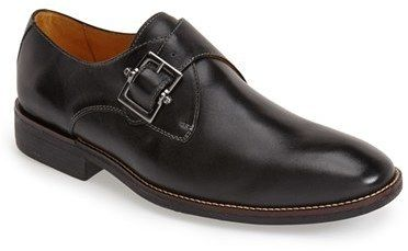 $145, Black Leather Monks: Sandro Moscoloni Easton Leather Monk Strap Shoe. Sold by Nordstrom. Click for more info: https://lookastic.com/men/shop_items/299819/redirect