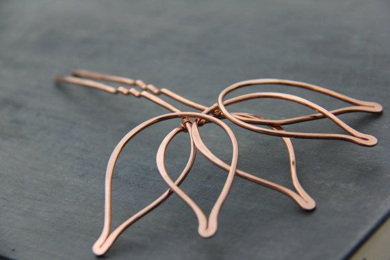Copper hair fork Lotus hair stick hair pin metal by Keepandcherish