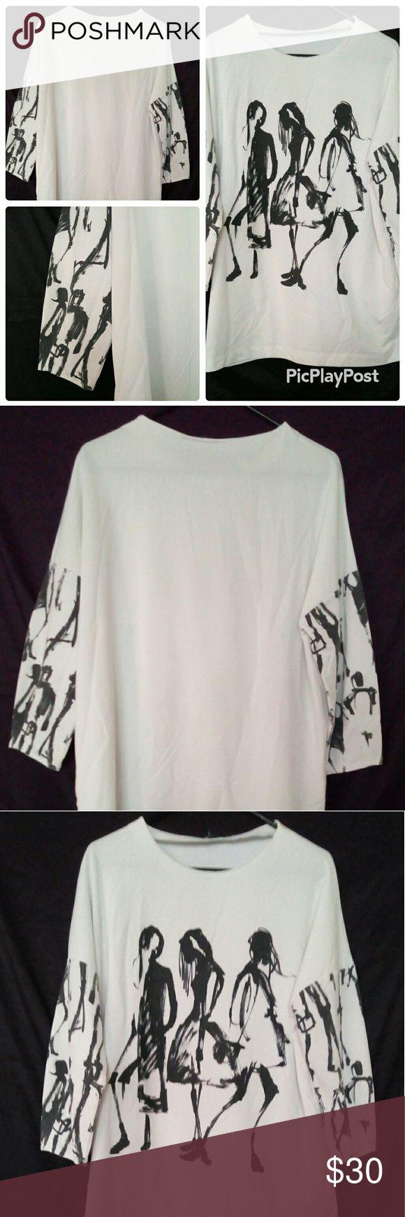 Selling this Zara Women graphics falchion white Tshit size M on Poshmark! My username is: poshlucci69. #shopmycloset #poshmark #fashion #shopping #style #forsale #Zara #Other