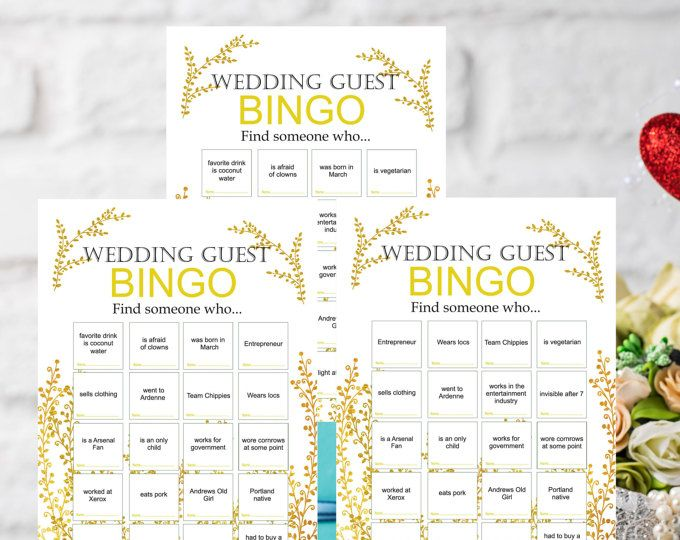 Adorable Gold Wedding Bingo This Listing Include 50 Diffe Sheets You Can