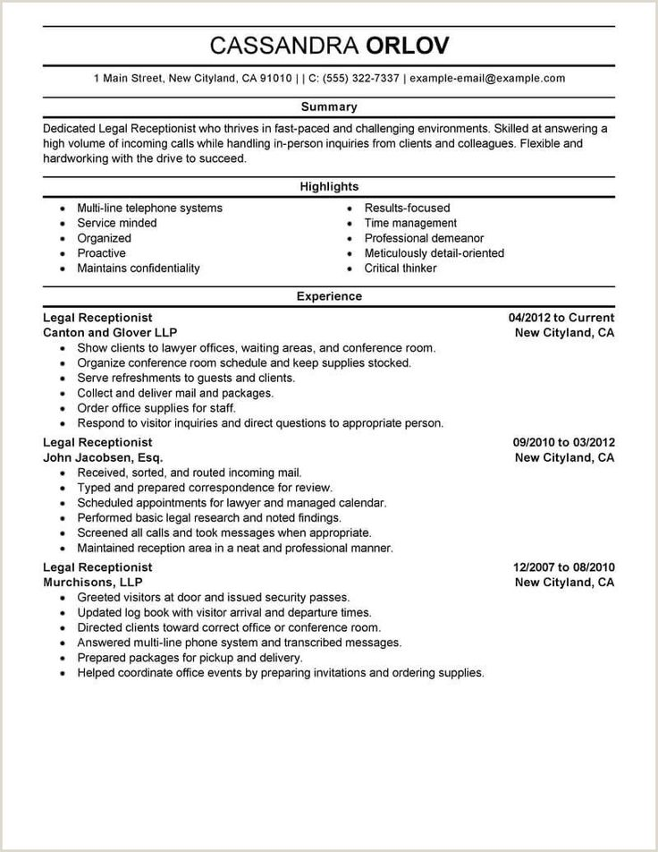 Summary for Receptionist Resume Resume examples, Resume