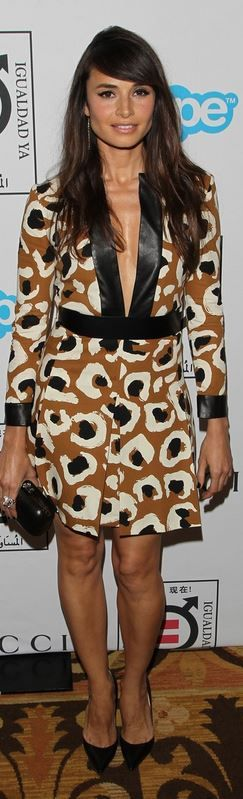 Who made Mia Maestro's brown animal print dress that she wore in Beverly Hills?