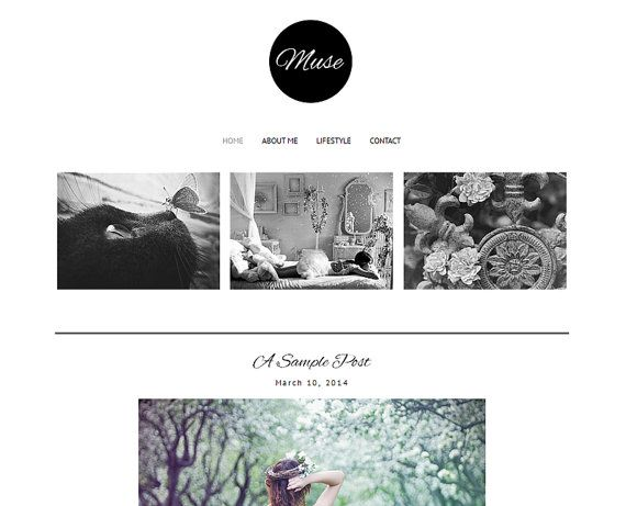 Premade Blogger Template  MUSE Pinterest Hover by LisasMenagerie