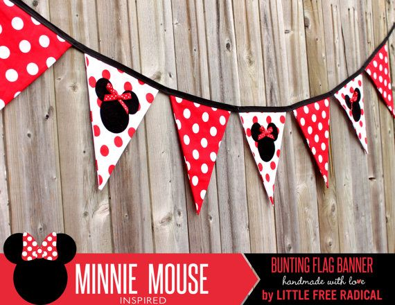 Minnie Mouse with Bows Red Polka Dot  Fabric Pennant Bunting Banner   - great for party decor, nursery, playroom, photo prop