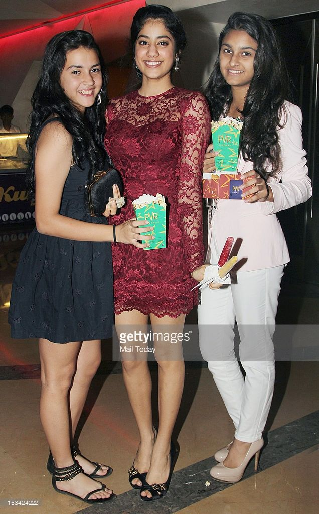 Jhanvi Kapoor (C) during the premiere of the movie 'English Vinglish' held at PVR Cinema in Mumbai on October 4, 2012.