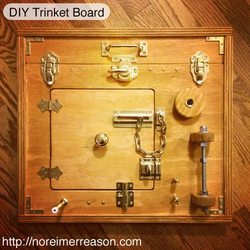 """DIY Trinket """"Busy Board"""" for kids. Great for hand/eye coordination and fine motor skill development."""