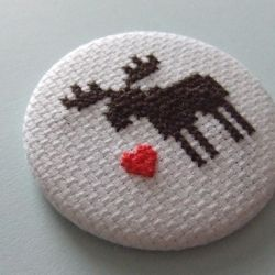 I love moose.  Therefore, I love this little cross stitch button!