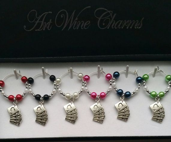 6 Cards themed Wine Charms, Themed Party, Party Favors, Thank You, Gift, Poker, Euchre, Bridge, Card Games, Gin Rummy, Tournament, Hearts