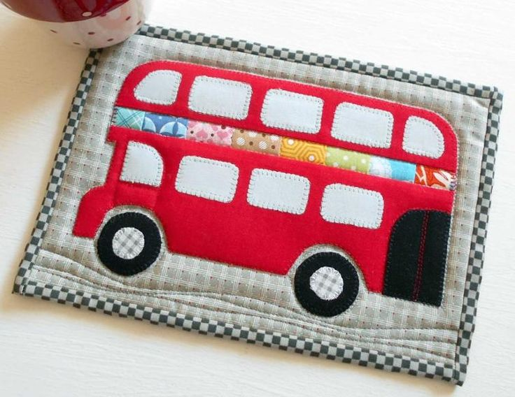 London Bus Mug Rug - perfect for any table or desk but especially a child's bedside table.