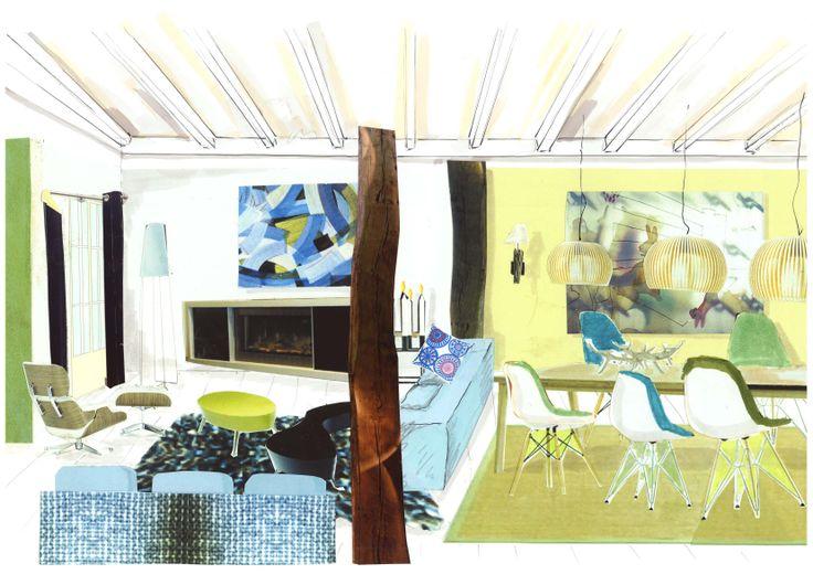 """3D sfeercollage voor woonhuis """"Scandinavisch"""" van Ridesign door Ria Bernards. Vrij ontwerp"""