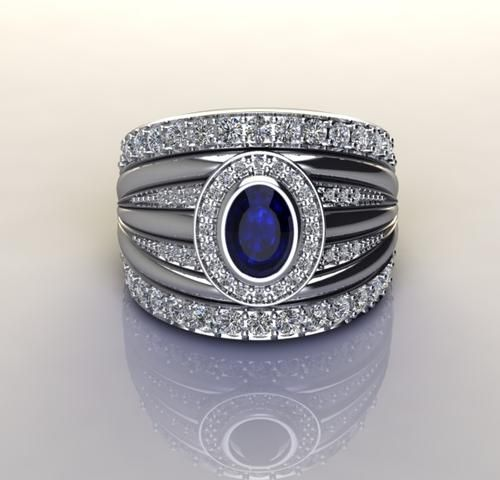 *CD DESIGNER JEWELRY*3.26ctw Simulated Sapphire and CZ 925 Sterling Silver