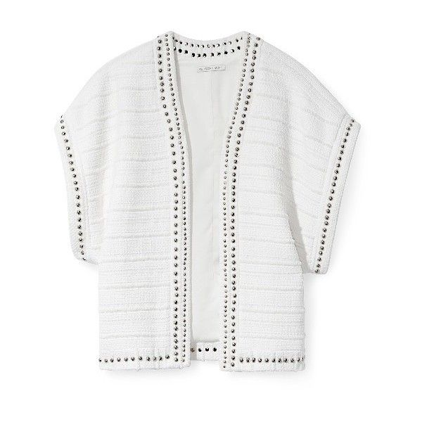 Rebecca Minkoff Vest ❤ liked on Polyvore featuring outerwear, vests, vest waistcoat, rebecca minkoff, white waistcoat and white vest