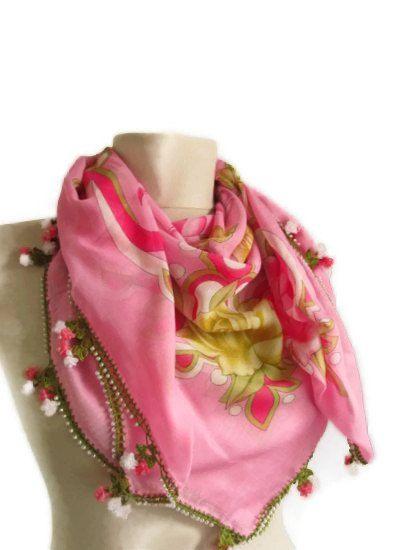 Ribbon Roses pink scarf  SQUARE scarf Turkish Yemeni OYA by asuhan, $35.00