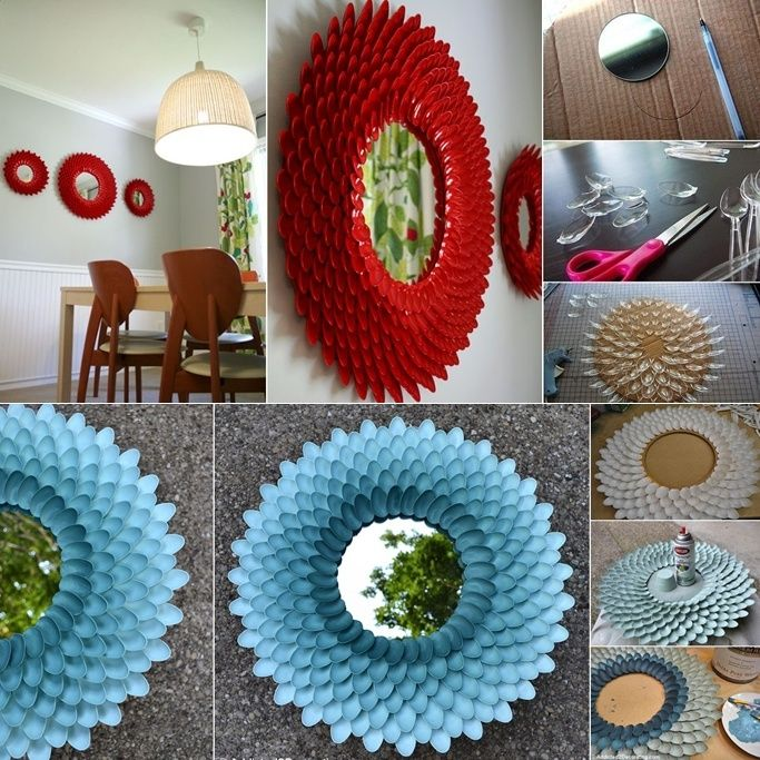 DIY Plastic Spoon Flower Mirror To Decorate Your Home