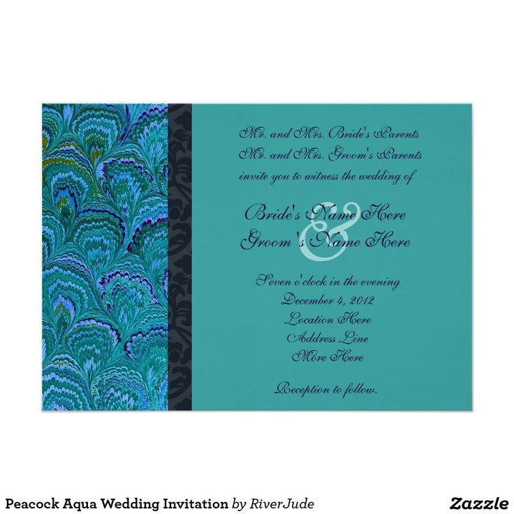 Pfau-Aqua-Hochzeits-Einladung 12,7 X 17,8 Cm Einladungskarte