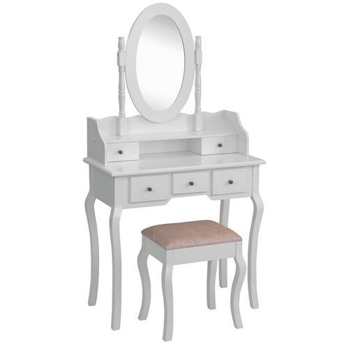 Beautify White Dressing Table Set Bedroom Makeup Vanity Desk with Stool & Mirror
