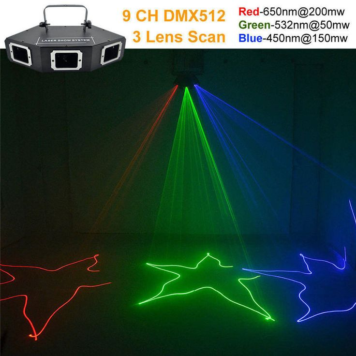 AUCD DMX 3 Lens RGB Red Green Blue Beam Optical Network Laser Light Home PRO DJ Show KTV Scanner Club Stage Lighting  A-X3 #Affiliate