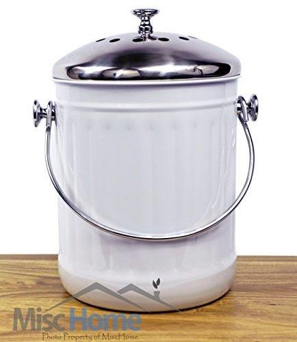 Sale Indoor Kitchen Stainless Steel Compost Bin - White - 1.2 Gallon Container with Double Charcoal Filter for Odor Absorbing - Perfect Caddy for Any Counter Top - Non Stick Bucket for Easy Tossing