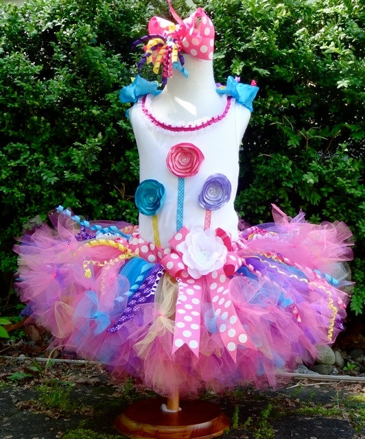 LolliPOP Birthday Petti Tutu Outfit....Sewn Tutu....Hot Pink, Turquoise, Purple, Yellow...Custom Flower Top & Bow...NB-24m. $99.00, via Etsy.