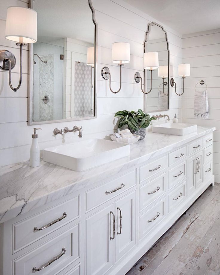 shades bathroom furniture uk%0A Shiplap bathroom wall with white cabinetry  white marble countertop  wall  mount faucet and rustic looking floor tile
