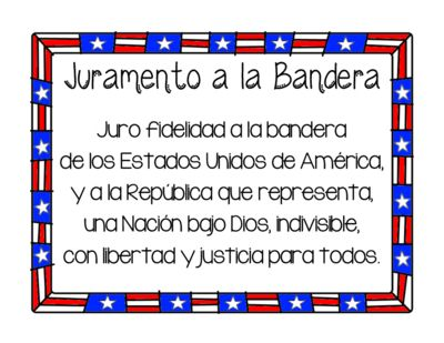 Pledge of Allegiance / Juramento a la Bandera from ZoeCohen on TeachersNotebook.com (2 pages)