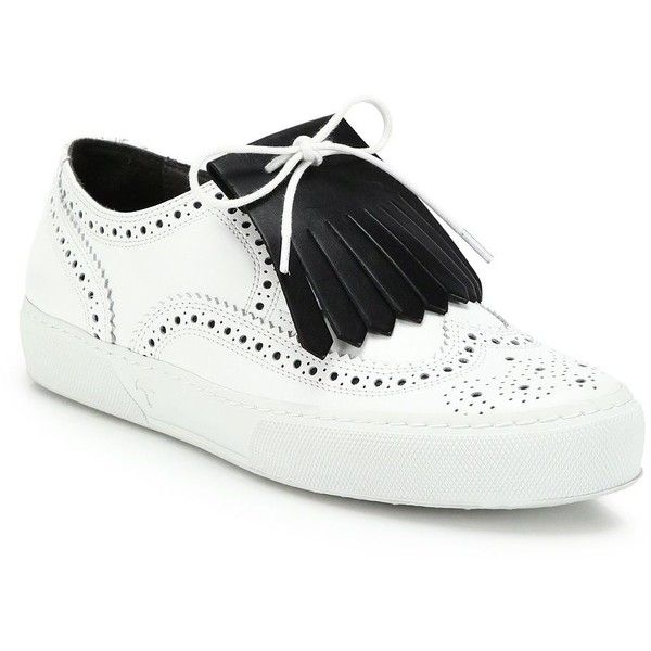 Robert Clergerie Tolka Leather Kiltie Sneakers (1.625 BRL) ❤ liked on  Polyvore featuring shoes